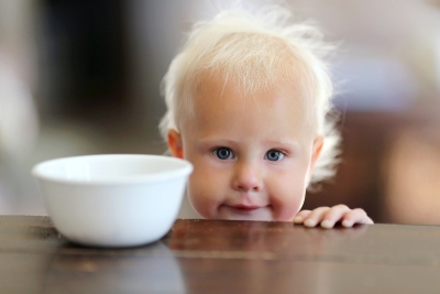 Baby with bowl