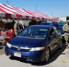 National guard members help with distribution